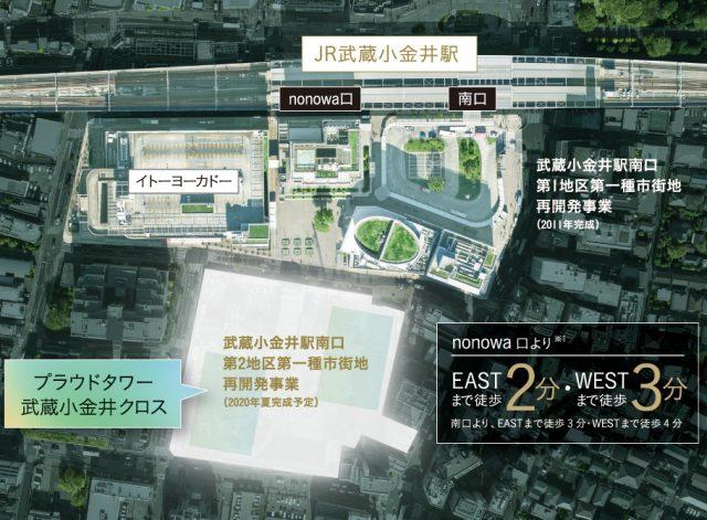 プラウドタワー武蔵小金井クロスの現地周辺の地図
