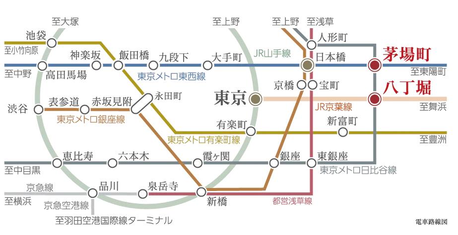 シティハウス東京八重洲通りの交通アクセス図