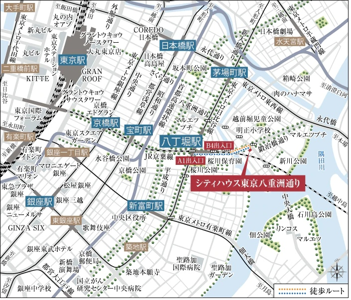 シティハウス東京八重洲通りの現地案内図