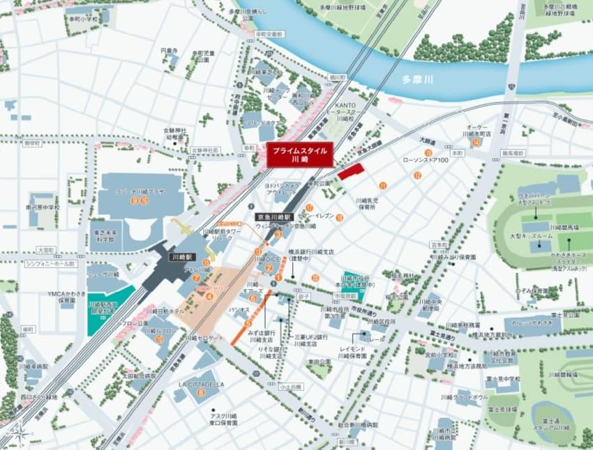 プライムスタイル川崎の周辺地図