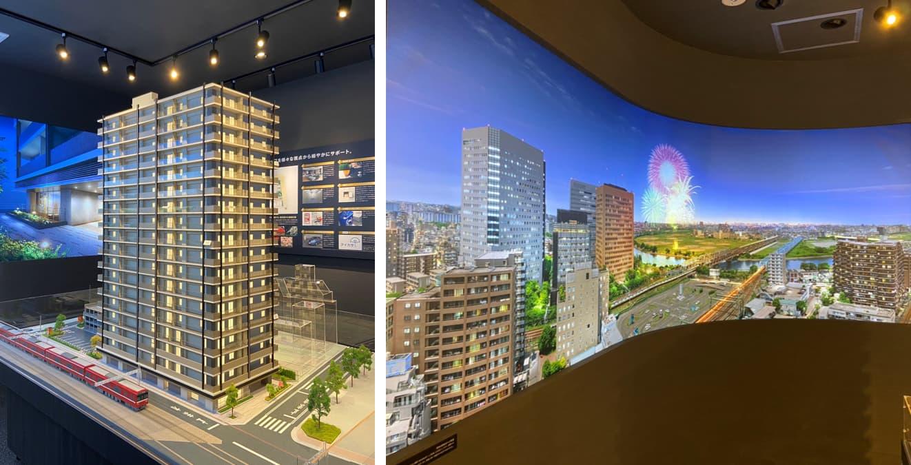 プライムスタイル川崎の模型と眺望イメージ