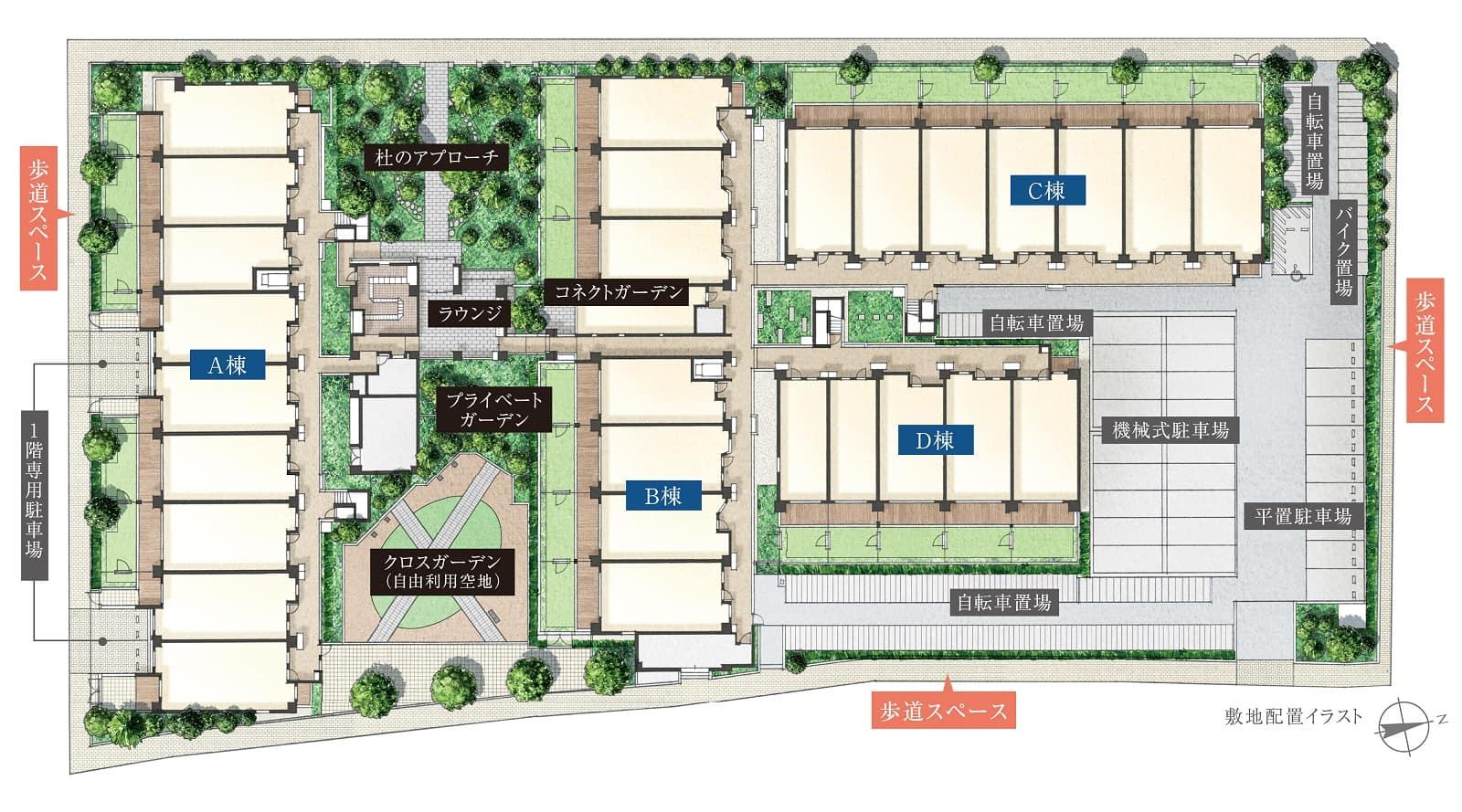 プライムパークス上大岡 ザ・レジデンスの敷地配置図(WoMansion)