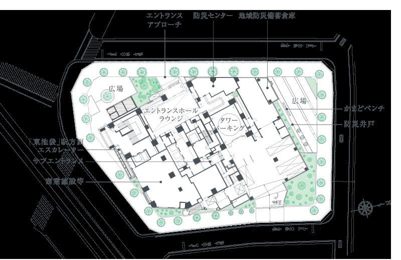プラウドタワー東池袋ステーションアリーナの配棟図