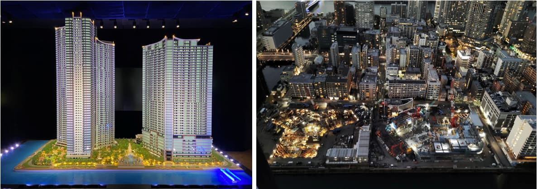 パークタワー勝どきの模型と現地